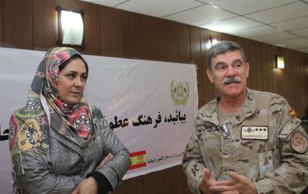 Forward Support Base Herat commander Col. José de Andrés Cuadra and the director of the department of women affairs in Herat, Mahboba Jamshidi, present the ISAF Spanish's contingent campaign against gender-based violence and support of equal rights for women.
