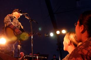 Country singer/songwriter Toby Keith plays for more than 1,000 service members at Bagram Air Field April 27. This was Keith's last show of 15 in Afghanistan, during his seventh tour with the United Service Organizations. Capt. Michael Greenberger