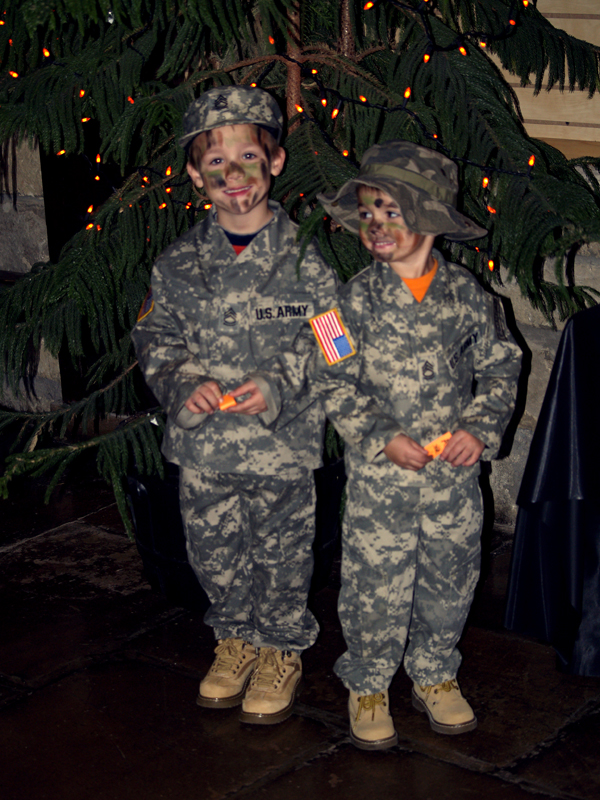 In camouflage, Colton and Mason are ready to blend in at Boo in the Zoo.