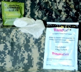 Combat Gauze and WoundStat granules give Army medics a better chance of saving bleeding casualties. Photo by MRMC