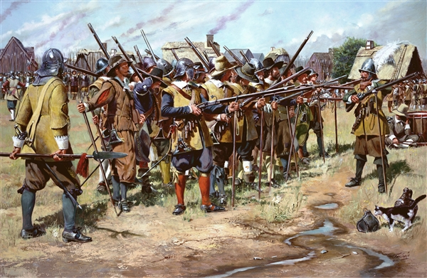 This illustration depicts the first muster of Massachusetts Bay Colony militia in the spring of 1637. This event took place after the Massachusetts General Court on Dec. 13, 1636 established three regiments within the colony to defend against enemy attack and preserve settlements. National Guard Bureau Illustration
