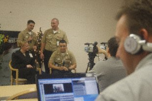Sailors at the Combat Center's Robert E. Bush Naval Hospital laugh as they make a video for their friends overseas for the holidays. Operation Best Wishes connects families, friends and service members with those deployed overseas or separated within the states.