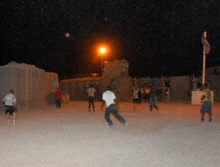 Soldiers, Sabre guardsmen and Iraqi translators play soccer at Camp Savage. While, some Soldiers spend their free time on deployment watching TV or playing video games, there are worse ways to spend time than connecting with your coworkers playing soccer, the global game. Pfc. J.P. Lawrence