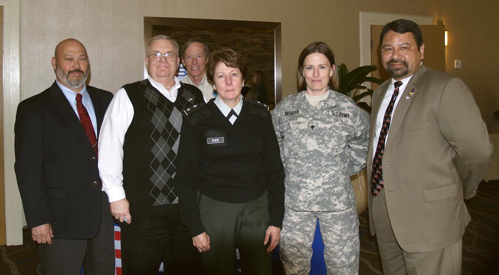 From left to right: Mr. Chuck Rackham, (Employer Partnership of the Armed), Mr. Lynn Grant, Mr. Ran Macdonald (volunteers with the Utah Committee for Employer Support of the Guard and Reserve), SPC. Jennifer Morgan (Yellow Ribbon Reintegration Staff) and Jessie Medina (Yellow Ribbon Reintegration instructor and ESGR Volunteer. Photo By Luis Trevino, Used By Permission