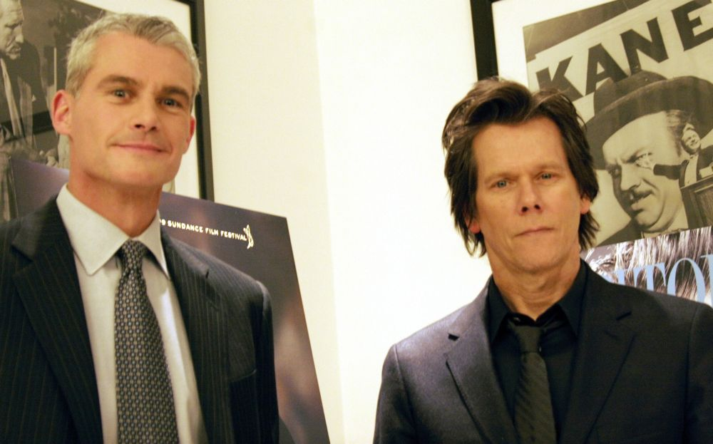 "Retired Marine Corps Lt. Col. Michael R. Strobl stands next to actor Kevin Bacon during a premier showing of HBO's made-for-TV movie ""Taking Chance"" in Washington, D.C., Feb. 9, 2009. U.S. Marine Corps photo by Lance Cpl. Bryan G. Carfrey"
