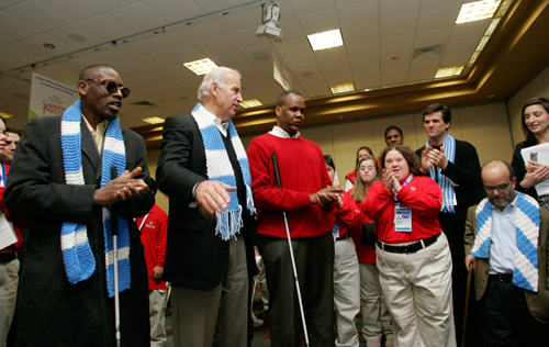 Photo credit: Vice President Joseph Biden announces that Kareem Dale, 3rd from left,  has been appointed Special Assistant to the President for Disability Policy during the Winter Special Olympics site at Boise State University Thursday, Feb. 12, 2009 in Boise, Idaho. White House photo by Sharon Farmer--Friday, February 13th