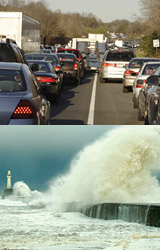 Components of complex systems like climate or traffic interact in many different ways. Computer simulations can model potential outcomes, such as traffic jams or storms.