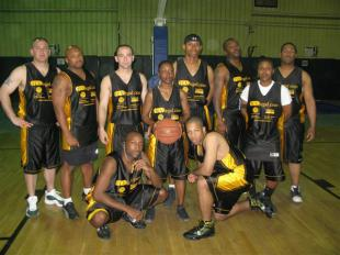 Soldiers from the 101st Financial Management Co., 16th Special Troops Battalion, 16th Sustainment Brigade, basketball team pose with their new uniforms donated by the Toni Villaverde PLLC Law Firm in Miami, Fl. The team, No Limit, is 4-2 and tied for second place in their division as of, Feb. 20., photo: 16th Sustainment Brigade