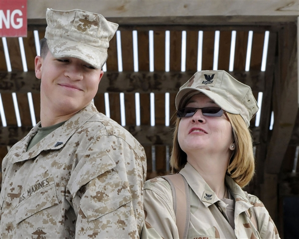 Marine Corps Cpl. Adam Hoel, left, and his mother, Navy Petty Officer 1st Class Crystal Hoel, are deployed together in Kandahar, Afghanistan. U.S. Navy photo by Chief Petty Officer Terrina Weatherspoon