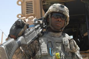 Pfc. Matthew Starks, a petroleum supply specialist assigned to Company G, 1st Battalion, 82nd Field Artillery Regiment, 3rd Brigade Combat Team, 82nd Airborne Division, only spent about a month in Iraq fueling vehicles. The Hayward, Calif., native is now an MRAP vehicle gunner.