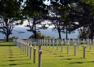 Rows of white crosses in the Normandy American Cemetery and Memorial mark the graves of the thousands of U.S. servicemembers who gave their lives during the D-Day invasion of June 1944. Spc. Adrienne Killingsworth