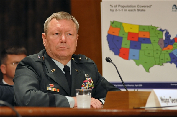 Army Maj. Gen. Frank Grass, director of operations for U.S. Northern Command, tells a Senate subcommittee that the National Guard and U.S. Northern Command stand ready to support civil authorities in the 2009 hurricane season, June 4, 2009. U.S. Army photo by Staff Sgt. Jim Greenhill