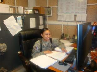 1st Lt. Keyia Carlton, a native of Norwood, Mass., and the officer in charge of the disbursing operation, prepares all the Daily Statement of Accountability forms. Carlton is currently deployed with the 208th Financial Management Company, 10th Sustainment Brigade Troops Battalion, 10th Sustainment Brigade in support of Multi-National Division – Baghdad.