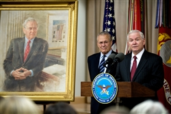 Defense Secretary Robert M. Gates, right, addresses the audience while former Defense Secretary Donald H. Rumsfeld looks on during Rumsfeld's portrait unveiling ceremony at the Pentagon, June 25, 2010. DoD photo by Cherie Cullen