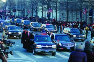 Non-commissioned officers of the White House Transportation Agency accompany the presidential motorcade on Inauguration Day. Their duties include transportation for White House staff, press corps and guests of the president on the ground and in the air. Courtesy Photo