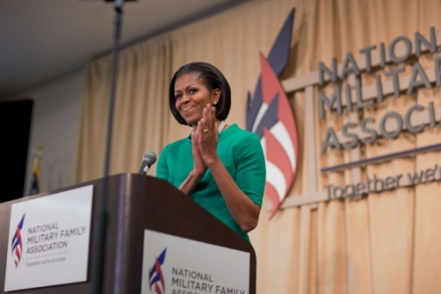 First Lady Michelle Obama delivers remarks to the National Military Family Association Military Child Summit at Georgetown University in Washington, D.C. May 12, 2010. (Official White House Photo by Chuck Kennedy)