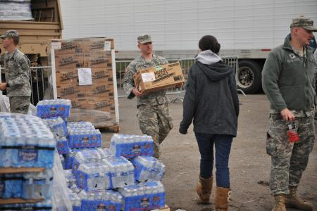 New York Army National Guard soldiers of the 102nd Military Police Battalion provide relief support to Long Beach, N.Y., following severe damage caused by Hurricane Sandy, Nov. 2, 2012.