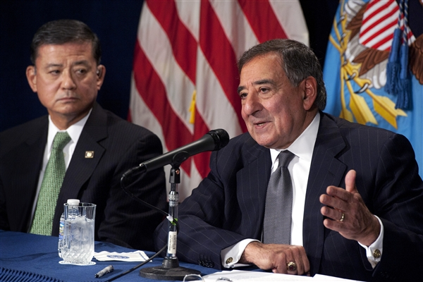 Defense Secretary Leon E. Panetta, right, holds a joint press conference with Veteran Affairs Secretary Eric K. Shinseki at the Veterans Affairs Building in Washington, D.C., Dec. 6, 2012. Panetta and Shinseki met before the press conference to discuss ways to help facilitate veteran disability claims and other issues. DOD photo by Erin A. Kirk-Cuomo