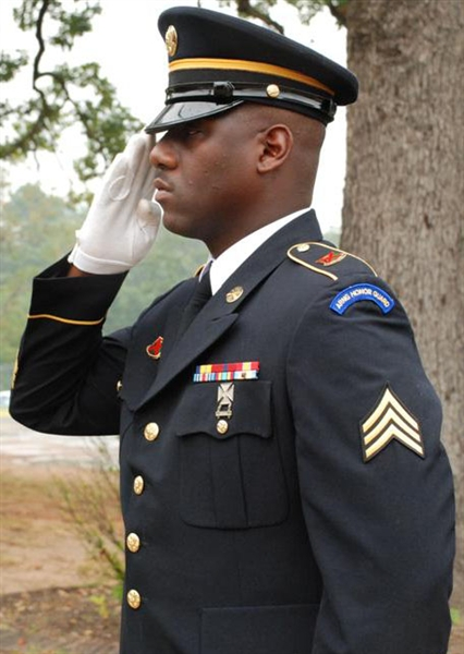 Shreveport, La., native Army Sgt. Michael A. Huff is the first Louisiana National Guard soldier to complete the Army's Honor Guard Train the Trainer Course at Camp Robinson, Ark. U.S. Army Photo by Sgt. Tresa L. Allemang