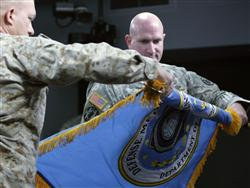 WASHINGTON-Master Gunnery Sgt. Al Moore, DMA senior enlisted advisor, and Army Col. Mike Galloucis, DMA deputy director and chief of staff, unfurl the Defense Media Activity's colors during an activation ceremony at the Pentagon Oct. 20. The DMA will be a joint-service public affairs shop at Fort Meade, Md., Lance Cpl. Bryan G. Carfrey, 10/20/2008 6:53 PM