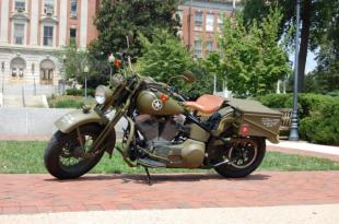 The Barbieri family of Gaithersburg, Md. built this replica of a World War II era Harley Davidson WLA motorcycle in honor of Spc. Thomas