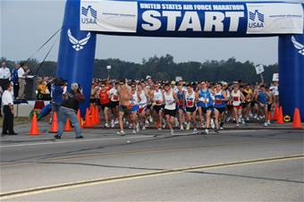 Ready, set... go! Crossing the line A record field of runners take off to start the 12th Annual U.S. Air Force Marathon at Wright-Patterson AFB, Ohio. Nearly 7,400 people registered to take part in the marathon events this year. (U.S. Air Force photo/Ben Strasser)