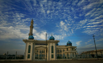 Mosques such as this one are visible throughout the city. Photo by Cpl. Ryan M.Blaich
