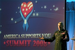 Army Lt. Gen. Carter F. Ham, director for operations, J-3, the Joint Staff, provides a global overview briefing for attendees at the 3rd Annual America Supports You National Summit, held in the Pentagon on Jan. 25, 2008.
