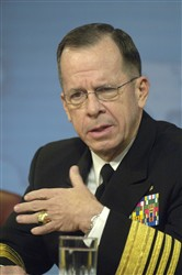 Chairman of the Joint Chiefs of Staff Navy Adm. Michael Mullen speaks to reporters in the Pentagon, Jan. 24, 2008. Photo by R. D. Ward